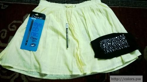 Skirt: Kazo Lakme Eyeconic Black Eyeliner Headband: Ayesha