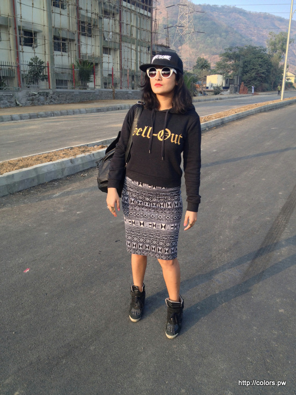 Sweatshirt: Forever 21 Azetic Skirt: Forever 2 Studded Sneakers: Zara