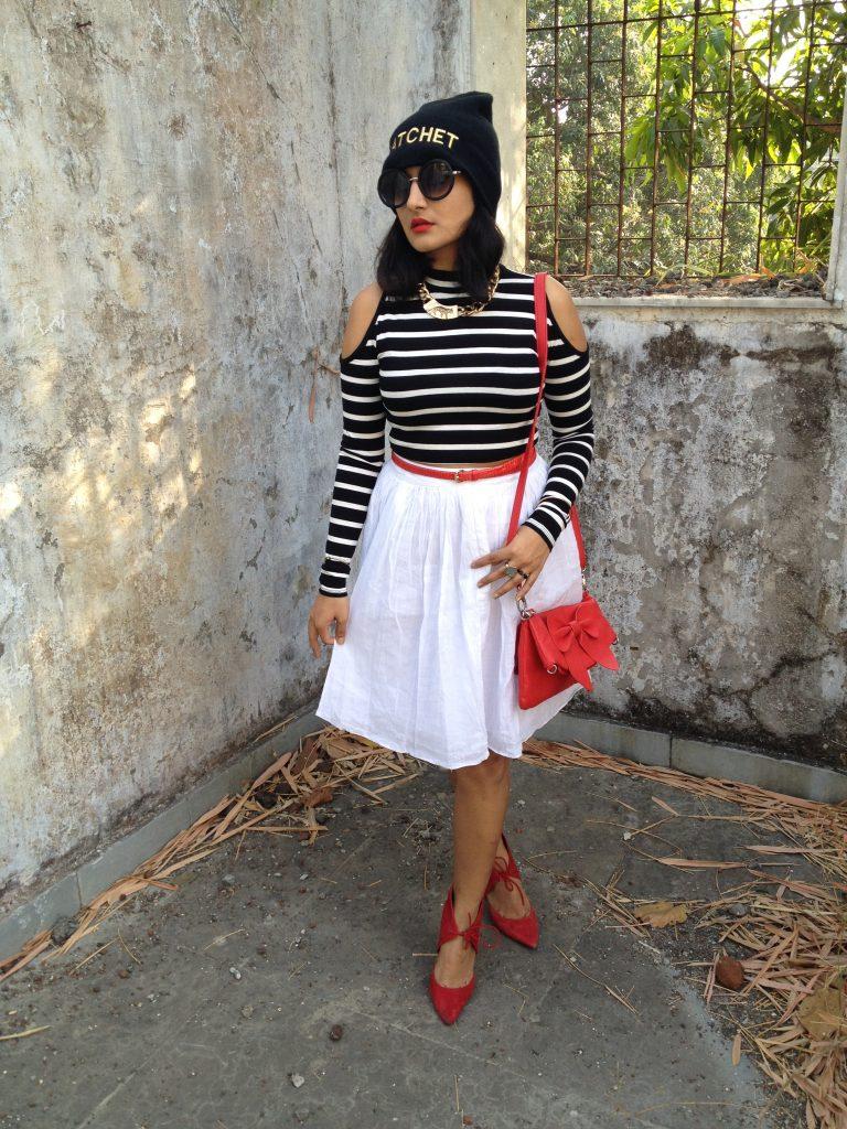 Crop Top: Forever 21 Skirt: Zara Red Belt: Ann Taylor (Gifted) Sling Bag: Vero Moda Shoes: Zara