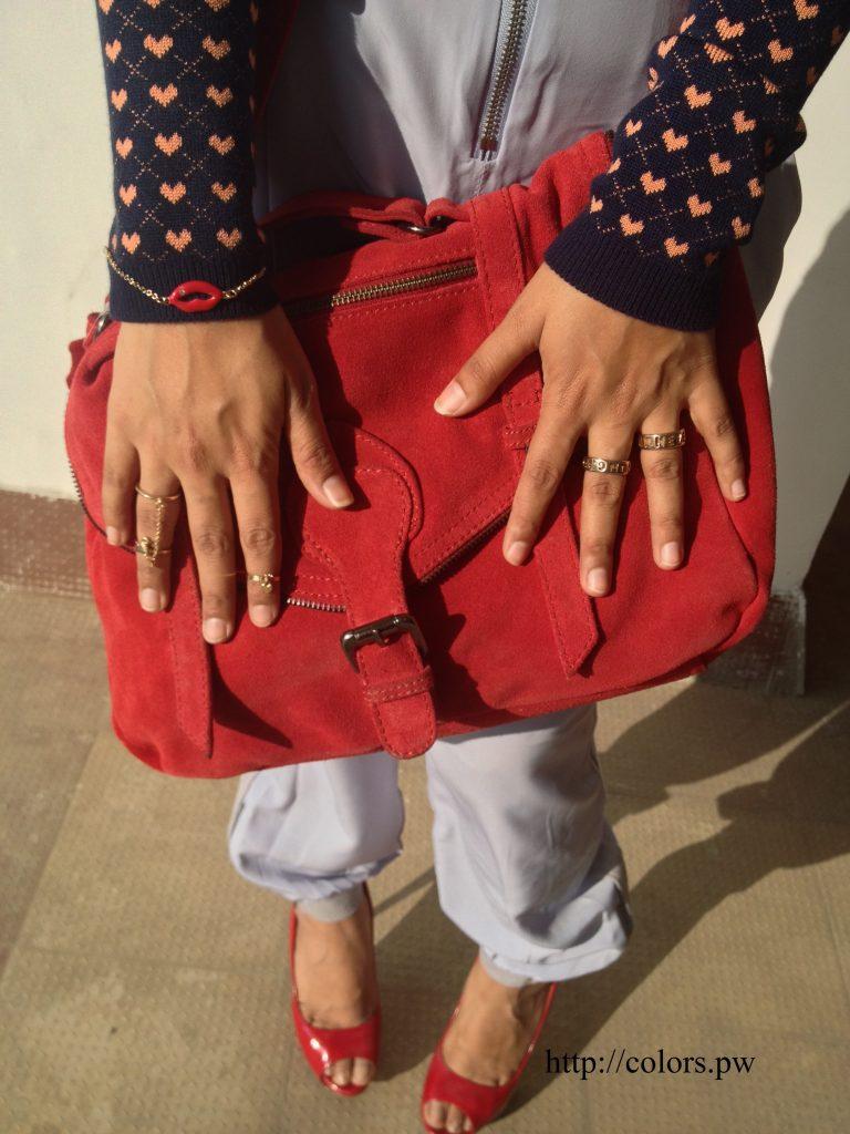 Handbag: Promod Rings: Forever 21 Red Lips Bracelet: Forever 21