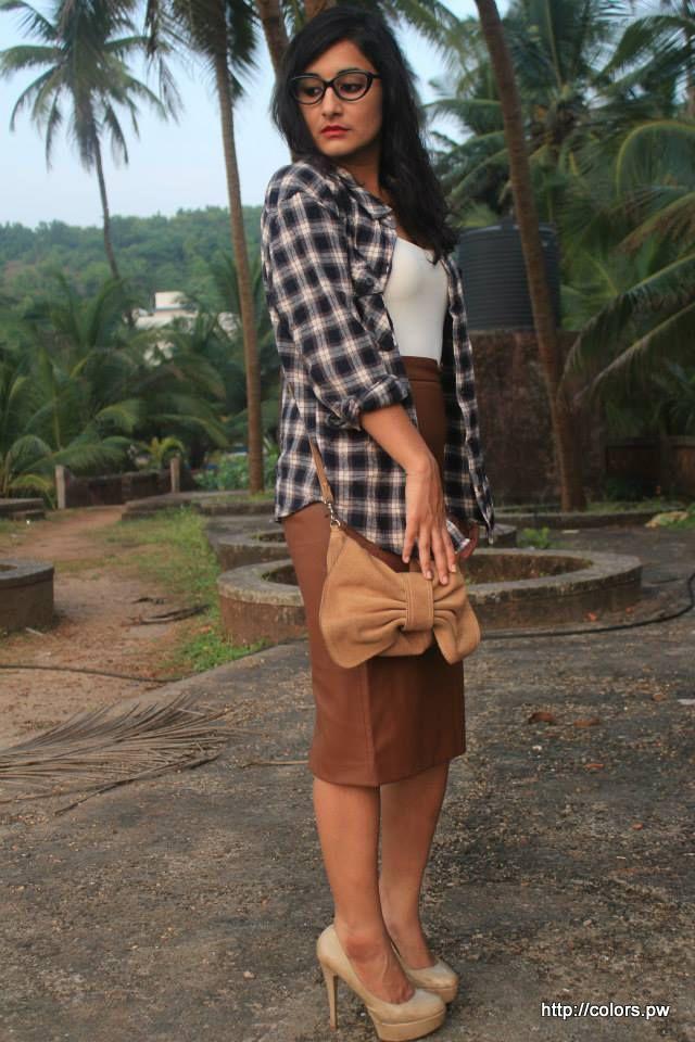 Plaid Shirt: Forever 21 Faux Leather Skirt Zara